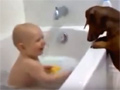 Funny Baby Playing With Dog While Bathing video